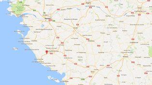 Sainte-Flaive-des-Loups, où a eu lieu un carambolage mortel, mardi 20 décembre 2016. (GOOGLE MAPS / FRANCEINFO)