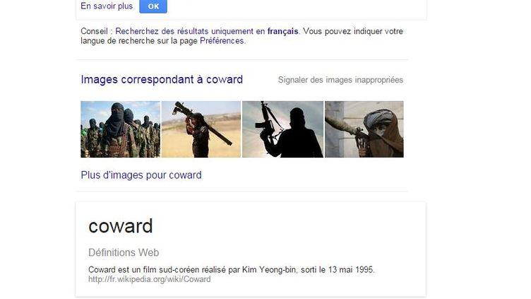 """Capture écran d'une page Google, effectuée vendredi 20 novembre 2015, avec l'application qui remplace le mot anglais """"terrorist"""" (terroriste) par """"coward"""" (lâche). (GOOGLE)"""
