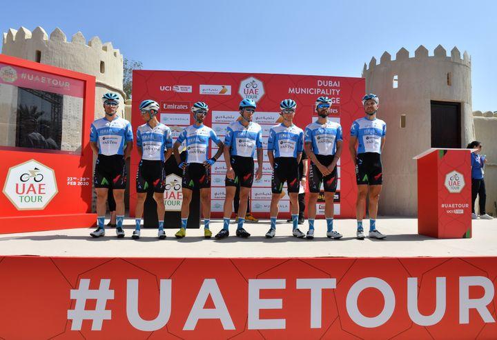 L'équipe d'Israël Start-Up Nation sur le Tour des Émirats arabes unis (GIUSEPPE CACACE / AFP)