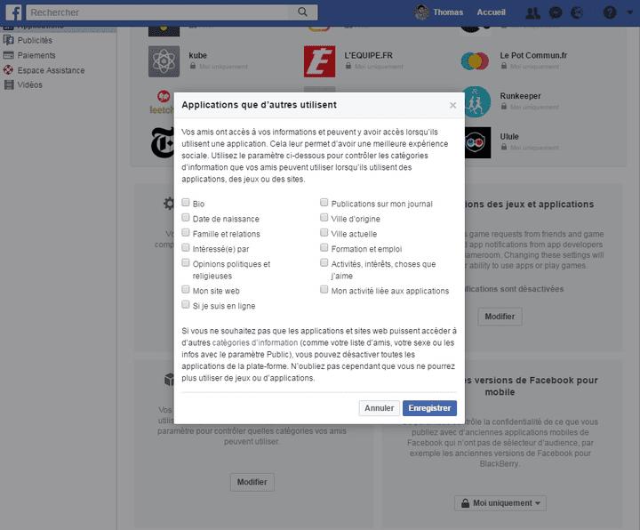 Décochez toutes les cases pour éviter que les applications et sites utilisés par vos amis aient accès à vos données personnelles. (FACEBOOK.COM)