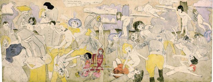"Henry Darger, ""A Calmanrina enfants étranglés et battus à mort. A Cedernine petites filles nues assassinées""  (Eric Emo / Musée d'Art Moderne / Roger-Viollet © 2015 Kiyoko Lerner / ADAGP, Paris)"
