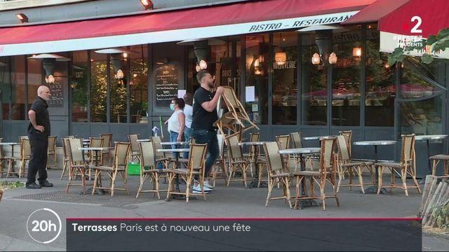 Déconfinement : le retour des clients en terrasse des restaurants et cafés parisiens