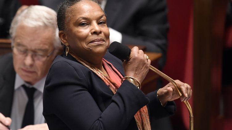 La ministre de la Justice, Christiane Taubira, lors d'une séance de questions au gouvernement, à l'Assemblée nationale, à Paris, le 4 pars 2015. (LOIC VENANCE / AFP)