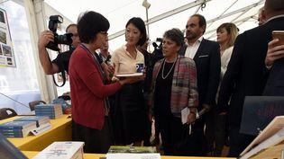 """La Ministre de la Culture Fleur Pellerin inaugure la 37e édition du """"Livre sur le Place"""" à Nancy le 11 septembre 2015  (PHOTOPQR/L'EST REPUBLICAIN)"""