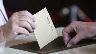 Une personne vote pour les élections européennes le 25 mai 2014, à Évry. (THOMAS SAMSON / AFP)