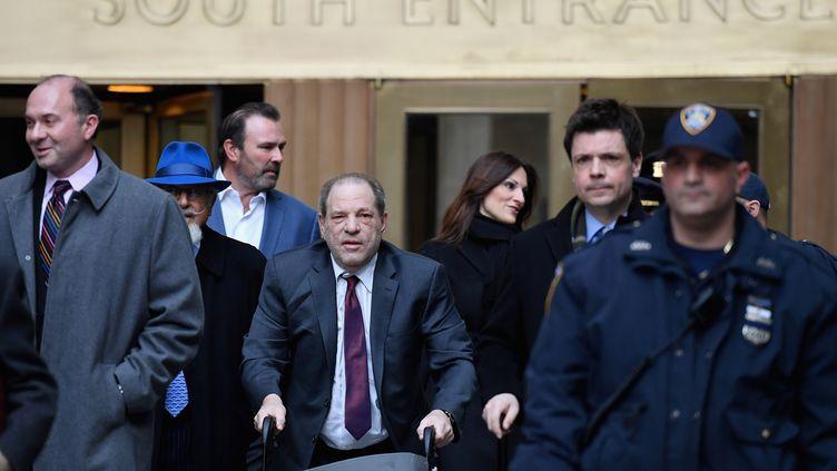 Harvey Weinstein, lors de son procès à New York, le 20 février 2020. (ANGELA WEISS / AFP)
