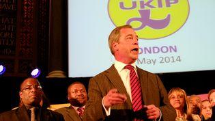 Nigel Farage, député européen et leader de l'Ukip, le parti pour l'Indépendance du Royaume-uni, le 7 mai 2014 à Londres (Royaume-Uni) (CITIZENSIDE / RACHEL MEGAWHAT / AFP)