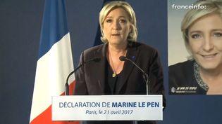 Marine Le Pen, dans son QG de campagne, le 21 avril 2017. (FRANCEINFO)