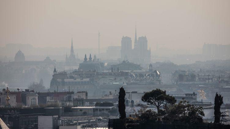 Un pic de pollution aux particules fines touche Paris, le 21 février 2019. (MAXPPP)