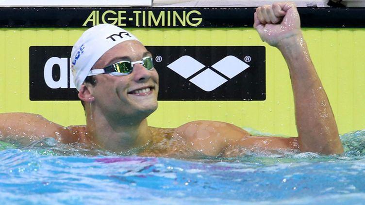 (Après le relais 4x100, le 50m papillon et le 100m nage libre, Florent Manaudou tentera de remporter le 50m nage libre dimanche. © Maxppp)