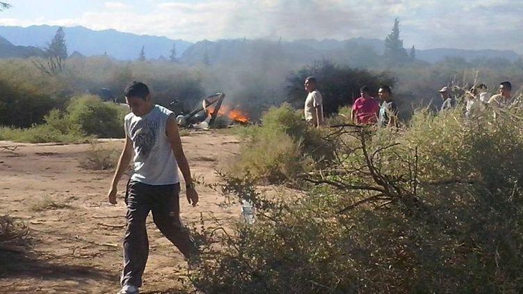 Les restes d'un des deux hélicoptères accidentés, le 9 mars 2015 àVilla Castelli (Argentine). (ALDO PORTUGAL / AFP)