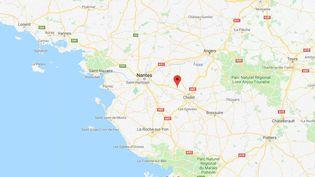 """Capture d'écran de Google maps pointant la ville de La Renaudière, où un élevage de quelque 9 000 dindes a été mis en quarantaine, le 7 décembre 2017,en raison d'une""""suspicion""""de grippe aviaire faiblement pathogène. (GOOGLE MAPS)"""