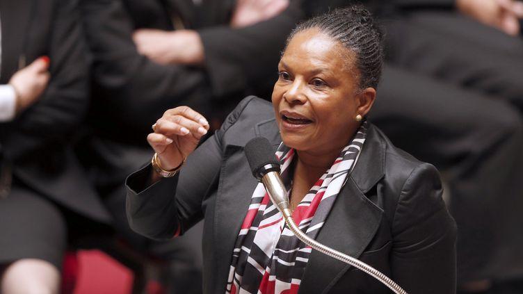 La ministre de la Justice, Christiane Taubira, assiste aux questions au gouvernement à l'Assemblée nationale, à Paris, le 3 juin 2014. (FRANCOIS GUILLOT / AFP)