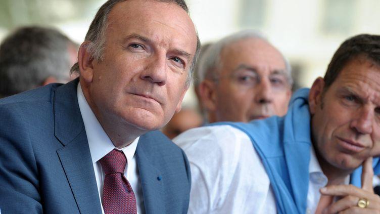 Le président du Medef, Pierre Gattaz, lors de l'université d'été de l'organisation patronale, le 28 août 2013 à Jouy-en-Josas (Yvelines). (ERIC PIERMONT / AFP)