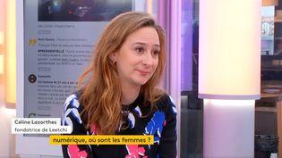 la jeune chef d'entreprise Céline Lazorthes, fondatrice de la cagnotte en ligne Leetchi (FRANCEINFO)