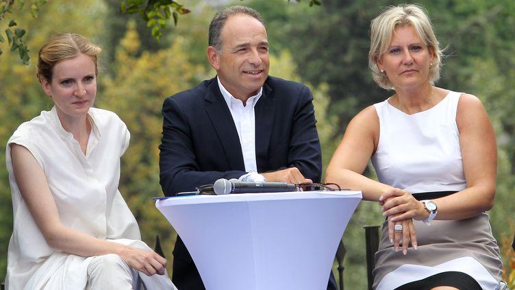 Nathalie Kosciusko-Morizet, Jean-François Copé et Nadine Morano, à Nice (Alpes-Maritimes), le 25 août 2012. (VALERY HACHE / AFP)