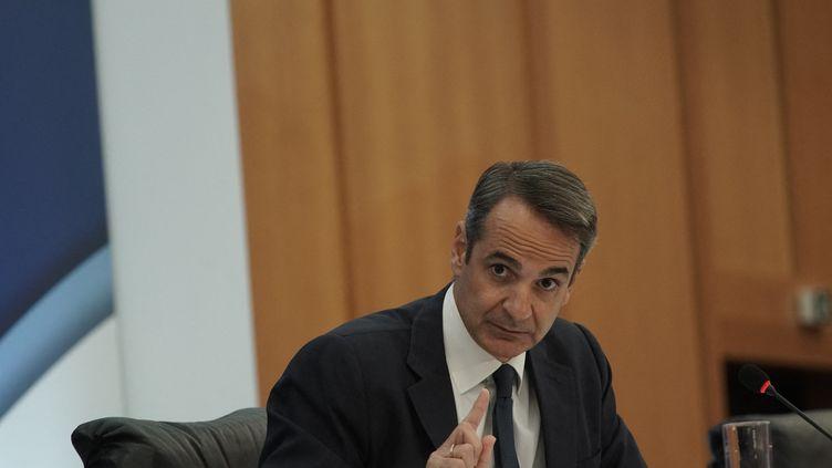 Le Premier ministre de la Grèce Kyriakos Mitsotakisà Athènes, le 12 août 2021. (MENELAOS MYRILLAS / SOOC / AFP)
