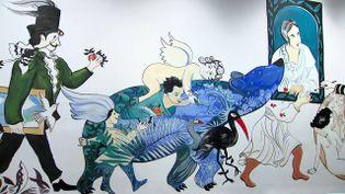 Détail de la fresque de Fabienne Cinquin au musée Mandet de Riom. (capture d'écran) (France 3 / Lilia Khelfaoui)