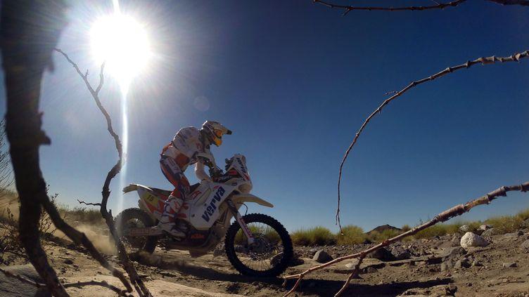 Le motard polonaisKuba Przygonski lors de la deuxième étape du Dakar, entre San Luis et San Rafael, en Argentine, le 6 janvier 2014. (FRANCK FIFE / AFP)