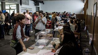 Un bureau de vote à Gérone (Espagne) le 28 avril 2019. (CARLES PALACIO / NURPHOTO / AFP)
