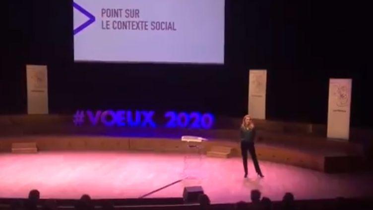 Les voeux 2020 de la présidente de Radio France, Sybile Veil, interrompus le 8 janvier 2020 par des grévistes. (CAPTURE D'ÉCRAN / RADIO FRANCE)