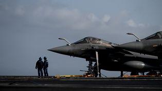 """Un Rafale est stationné sur le """"Charles de Gaulle"""", le 23 janvier 2020, au large de Toulon (Var). (PHILIPPE LOPEZ / AFP)"""