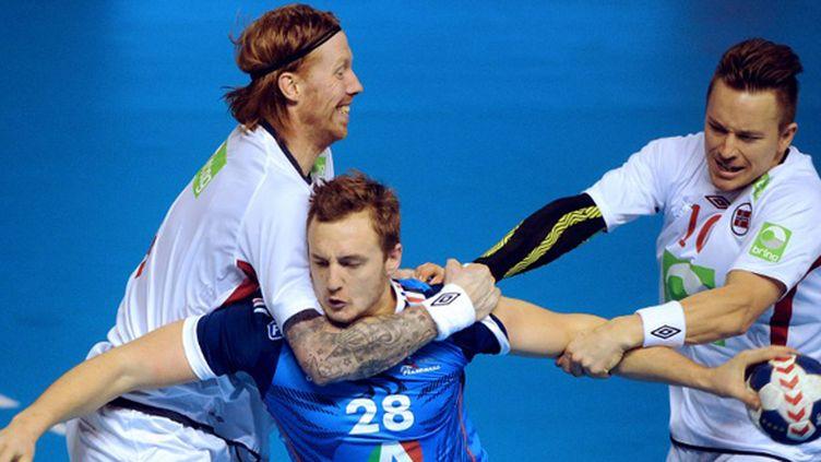 Valentin Porte (France) contre la Norvège (JEAN-FRANCOIS MONIER / AFP)