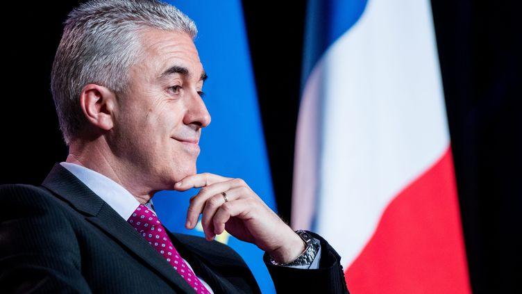 Manuel Aeschlimann, candidat des Républicains à la mairie d'Asnières-sur-Seine (Hauts-de-Seine), le 3 juin 2015 lors d'un meeting organisé dans sa ville. (MAXPPP)