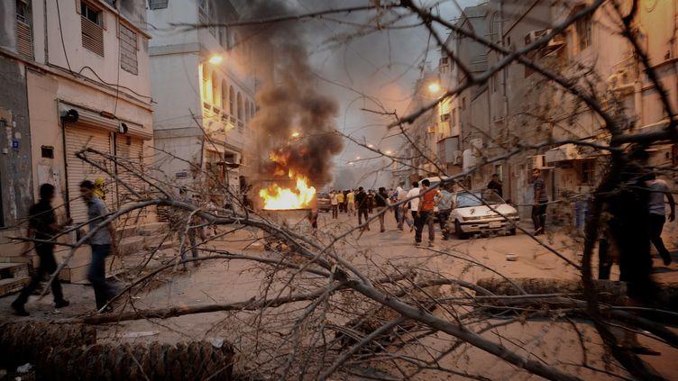 Une barricade àBahreïn le 20 avril. La contestation est vive à l'approche du Grand Prix de F1. (AFP)