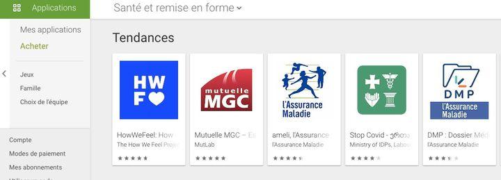 """L'application Stop Covid se trouve en 4e position des tendances """"Santé et remise en forme""""pour Android. (CAPTURE D'ÉCRAN / GOOGLE PLAY STORE)"""