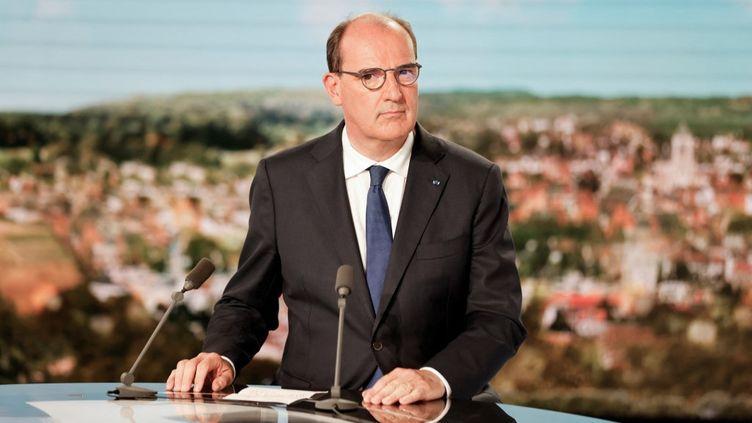 Le Premier ministre Jean Castex sur le plateau du journal de 13 heures de TF1, le 21 juillet 2021. (LUDOVIC MARIN / AFP)