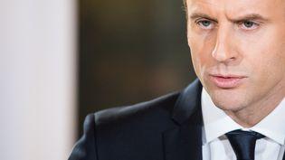 Emmanuel Macron lors d'une conférence de presse à l'Elysée, le 19 décembre 2017. (MAXPPP)