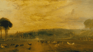 """The Lake, Petworth : Sunset, Fighting Bucks"" peint par William Turner en 1829. (TATE MUSEUM / DR)"