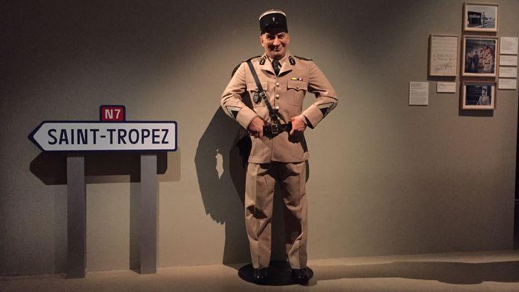 Le mannequin du gendarme de Saint-Tropez, l'un des rôles les plus célèbres de Louis de Funès, à voir depuis mercredi 15 juillet à la Cinémathèque française. (STÉPHANE MILHOMME / FRANCE-INFO)