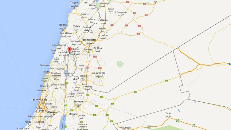 Capture d'écran de Google Maps pointantle secteur contesté des fermes de Chebaa, à la frontière entre le Liban et Israël, où une attaque du Hezbollah a tué deux soldats israéliens, le 28 janvier 2015. ( GOOGLE MAPS)