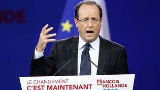 François Hollande lors de son discours au Bourget le 22 janvier 2012. (PATRICK KOVARIK / AFP)