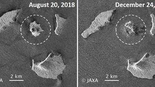 Des images satellites de l'Agence spatiale japonaise, prises avant et après l'éruption du volcan Anak Krakatoa, et rendues publiques le 27 décembre 2018. Ces imagesmontrentque deux km2 de l'îleoù se situe le volcanse sont engloutis dans les flots. (MAXPPP)