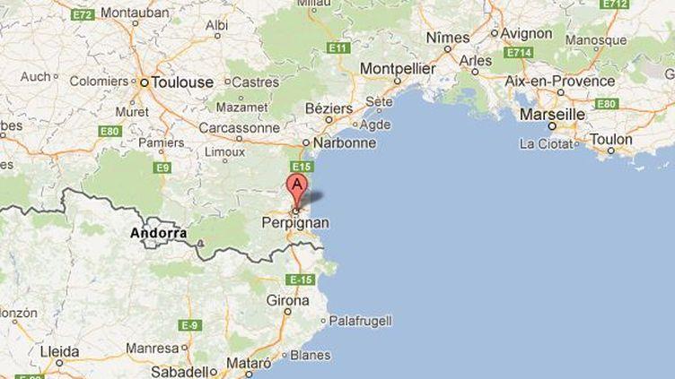 Un forcené menace de faire sauter son logement à Perpignan (Pyrénées-Orientales), le 24 juillet 2012. (GOOGLE MAPS / FTVI)
