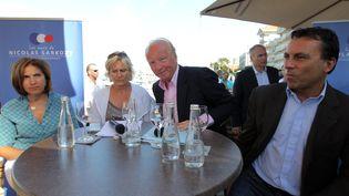 Les anciens ministres Nora Berra, Nadine Morano et Brice Hortefeux, et le maire d'Arcachon, Yves Foulon, lors d'une conférence de presse de l'association des Amis de Nicolas Sarkozy, le 1er septembre 2013 à Arcachon. ( MAXPPP)