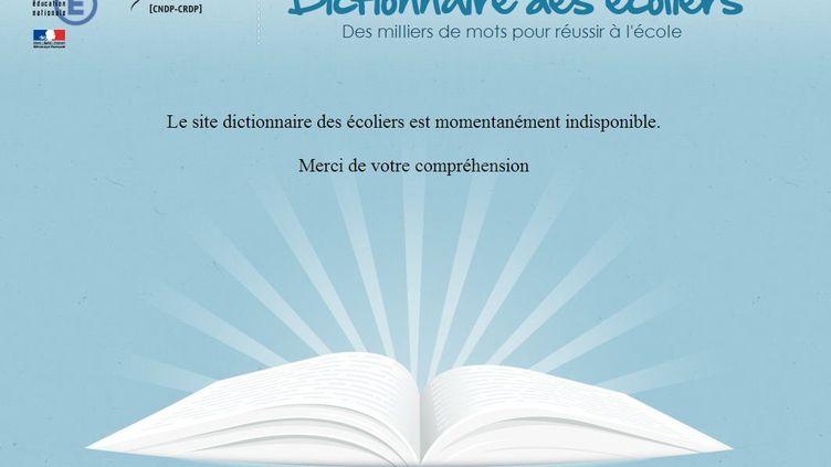 Une capture d'écran du site Le dictionnaire des écoliers après sa suspension décidée parle ministère de l'Education nationale, le 5 novembre 2012. (DICTIONNAIRE DES ÉCOLIERS)