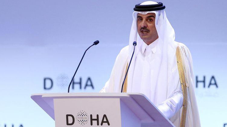 L'émir du Qatar,Sheikh Tamim bin Hamad al-Thani à Doha, le 14 décembre 2019. (MUSTAFA ABUMUNES / AFP)