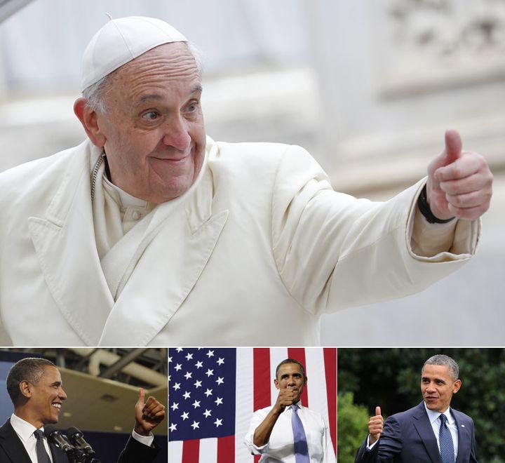 """Le pape François et le président américain Barack Obama, deux adeptes du """"like"""". (REUTERS / SIPA)"""