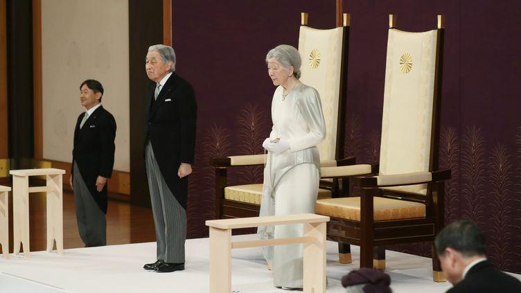 L'empereur du JaponAkihito et l'impératriceMichiko lors de la cérémonie d'abdication, à Tokyo (Japon), le 30 avril 2019. (REUTERS)
