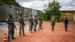 Des soldats maliens au centre d'entraînement de Koulikoro (Mali), le 7 octobre 2019. (ARNE IMMANUEL BANSCH / DPA / AFP)