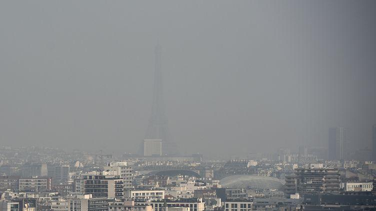 La tour Eiffel noyée sous un nuage de particules fines, le 18 mars 2015 à Paris. (FRANCK FIFE / AFP)