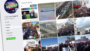 """Photos sur la page Facebook """"1, 2, 3 viva l'Algérie"""". (CAPTURE D'ÉCRAN)"""