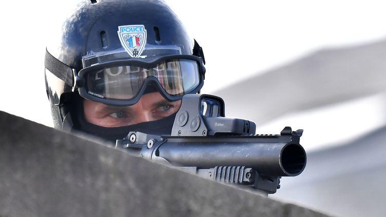Un policier armé d'un LBD 40, à Nantes (Loire-Atlantique), le 16 novembre 2017. (LOIC VENANCE / AFP)