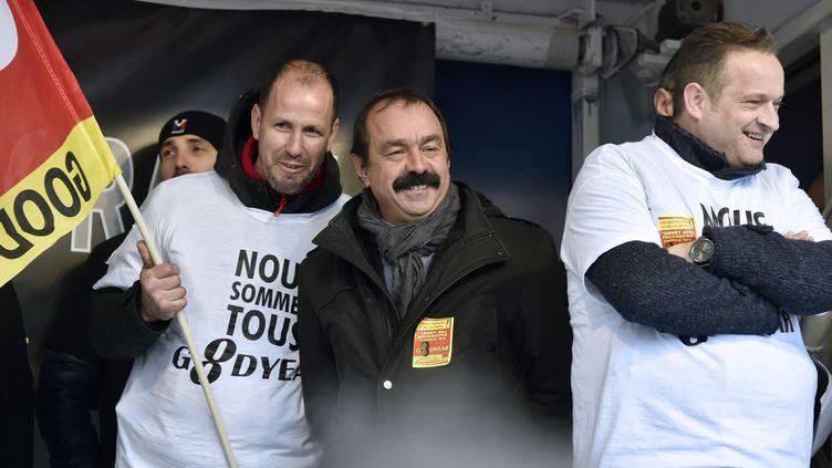 Le secrétaire général de la CGT Philippe Martinez, lors d'une manifestation de soutien aux salariés de Goodyear, le 4 février 2016 à Paris. (DOMINIQUE FAGET / AFP)