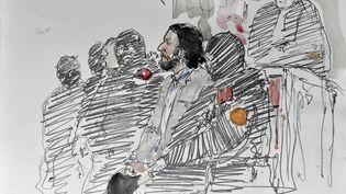 Dessin d'audience réalisé le 5 février 2018, lors du procès du jihadiste Salah Abdeslam, à Bruxelles (Belgique). (BENOIT PEYRUCQ / AFP)