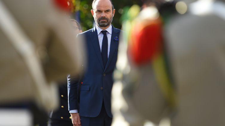 Le Premier ministreEdouard Philippelors des célébrations du centenaire de la Première Guerre mondiale à au Malzieu-Ville (Lozère) le 26 octobre 2018. (SYLVAIN THOMAS / AFP)